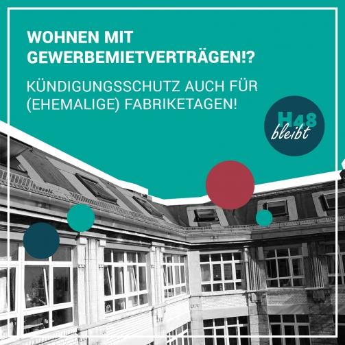 """Das Bild zeigt das oberste Stockwerk des Hermannshofs. Darüber steht """"Wohnen mit Gewerbemietverträgen?! Kündigungsschutz auch für (ehemalige) Fabriketagen"""""""