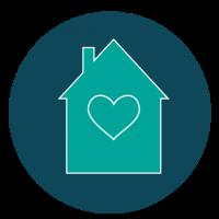 Haus mit einem Herz in der Mitte